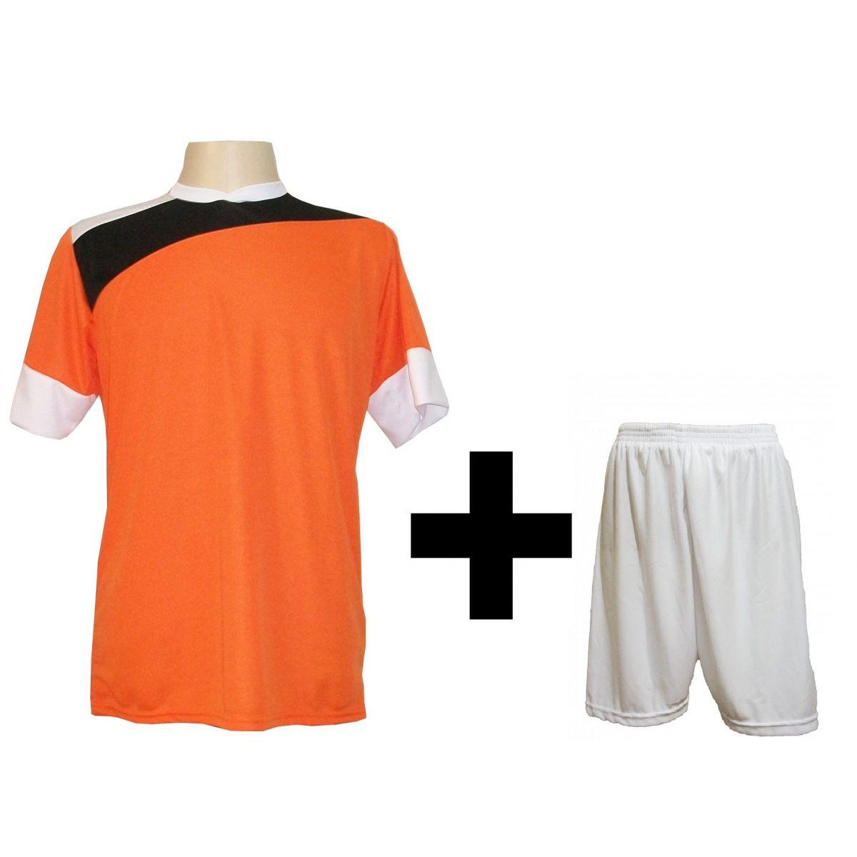 Uniforme Esportivo com 14 camisas modelo Sporting Laranja/Preto/Branco + 14 calções modelo Madrid + 1 Goleiro + Brindes