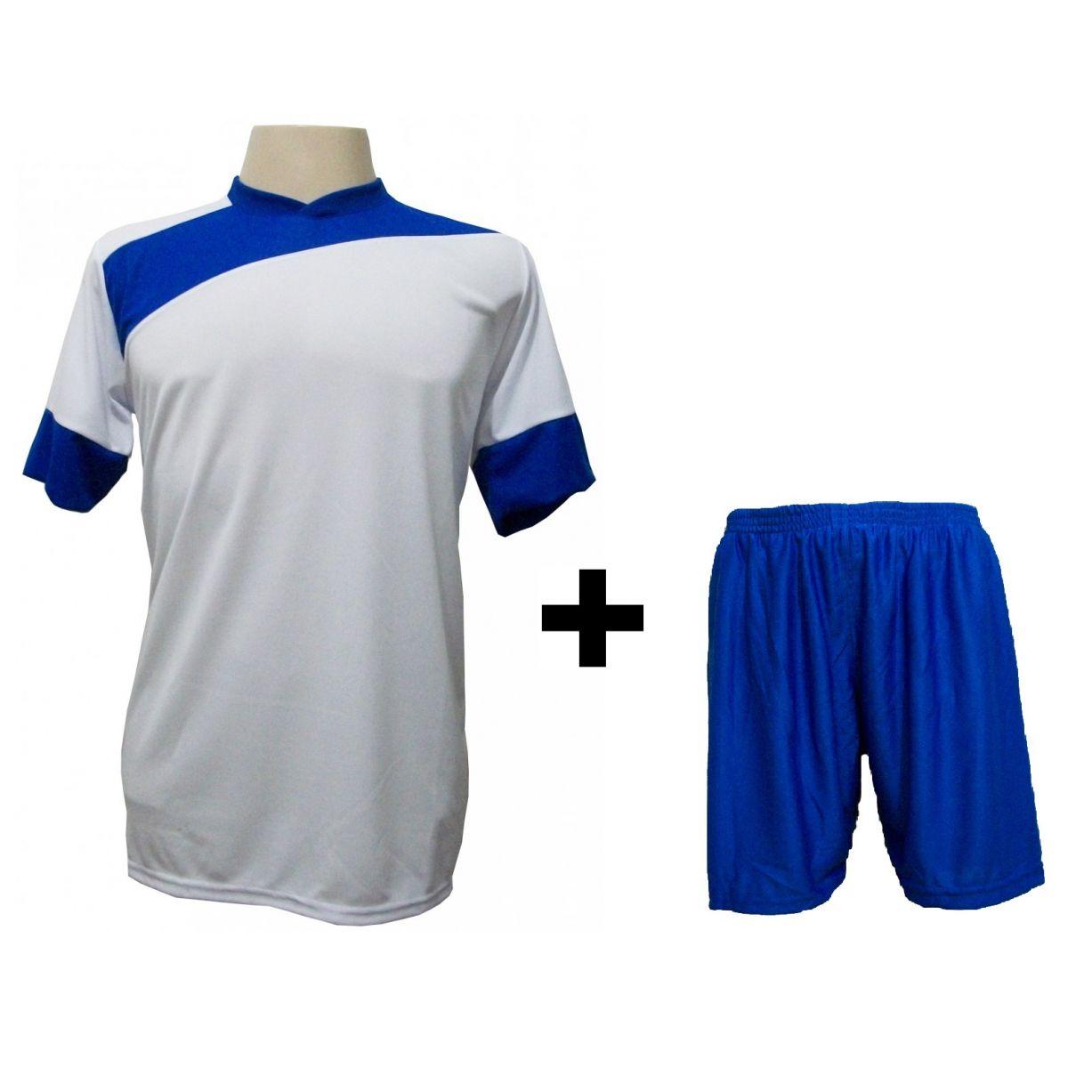 Uniforme Esportivo com 14 camisas modelo Sporting Branco/Royal + 14 calções modelo Madrid + 1 Goleiro + Brindes