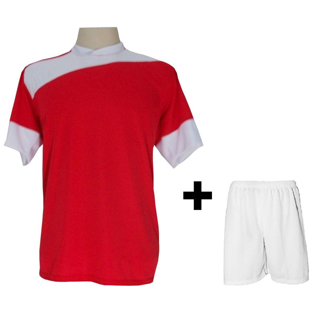 Uniforme Esportivo com 14 camisas modelo Sporting Vermelho/Branco + 14 calções modelo Madrid + 1 Goleiro + Brindes