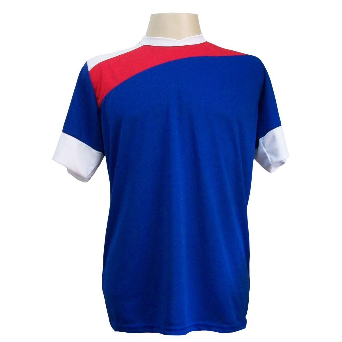 Uniforme Esportivo com 14 camisas modelo Sporting Royal/Vermelho/Branco + 14 calções modelo Madrid + 1 Goleiro + Brindes