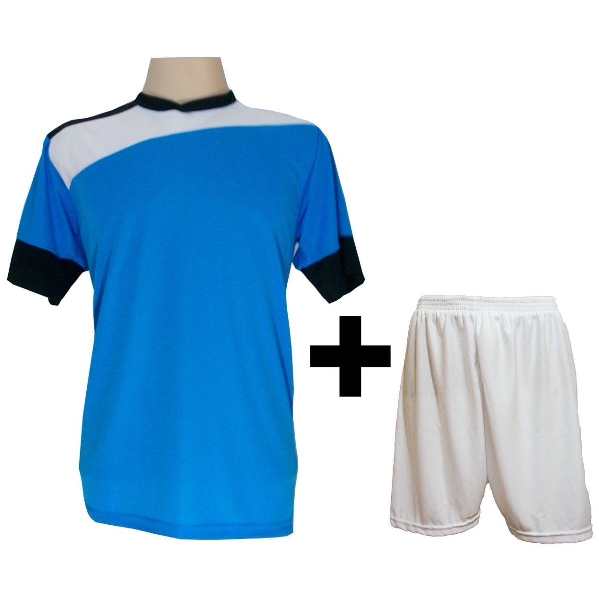 Uniforme Esportivo com 14 camisas modelo Sporting Celeste/Branco/Preto + 14 calções modelo Madrid + 1 Goleiro + Brindes