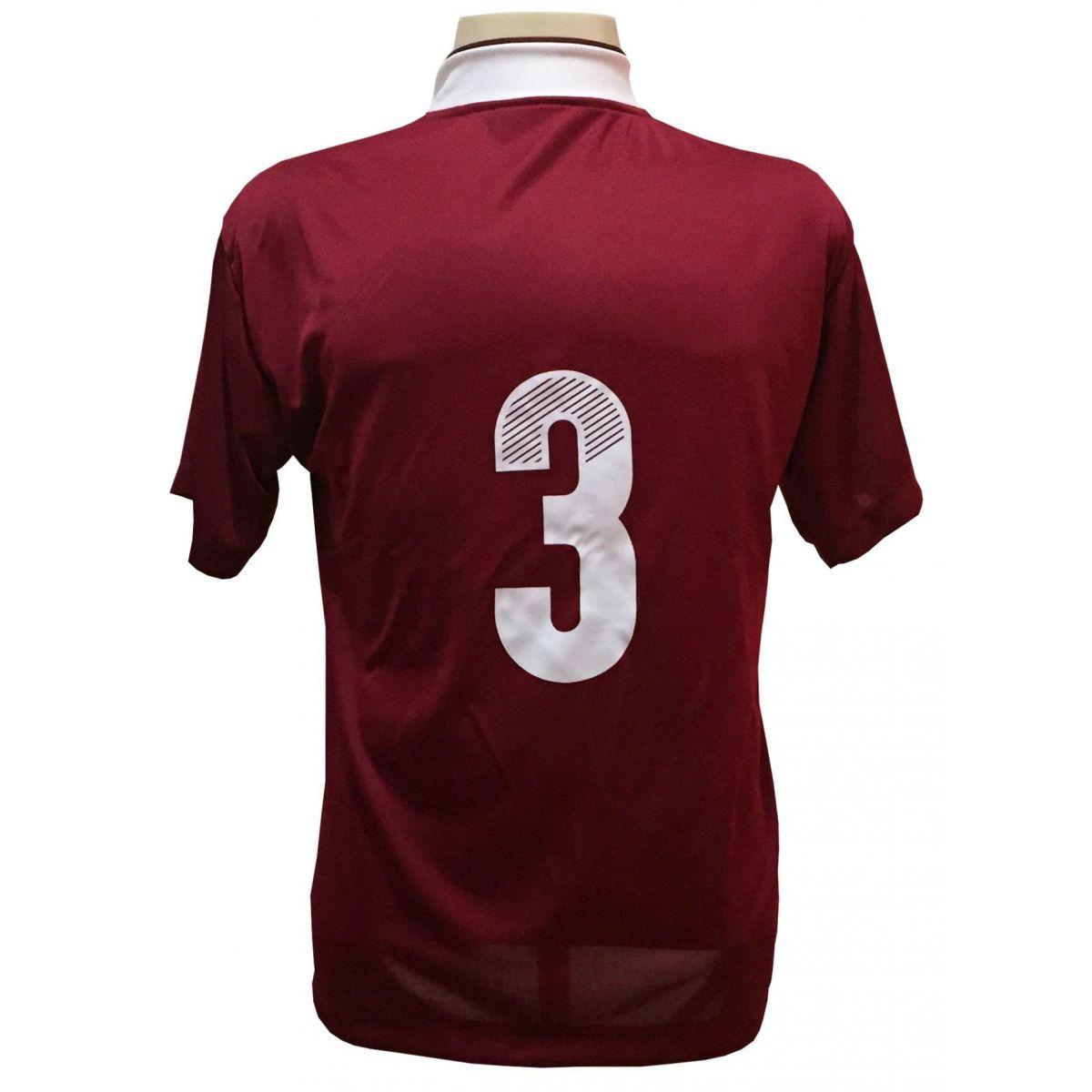 Uniforme Esportivo com 14 camisas modelo Suécia Vinho/Branco + 14 calções modelo Madrid + 1 Goleiro + Brindes