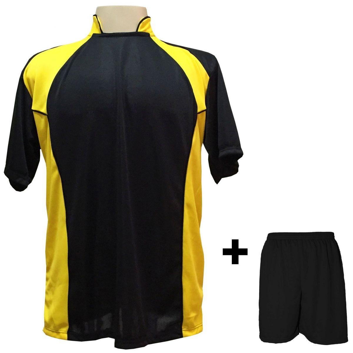 bdbe866a717d Uniforme Esportivo com 14 camisas modelo Suécia Preto/Amarelo + 14 calções  modelo Madrid + ...