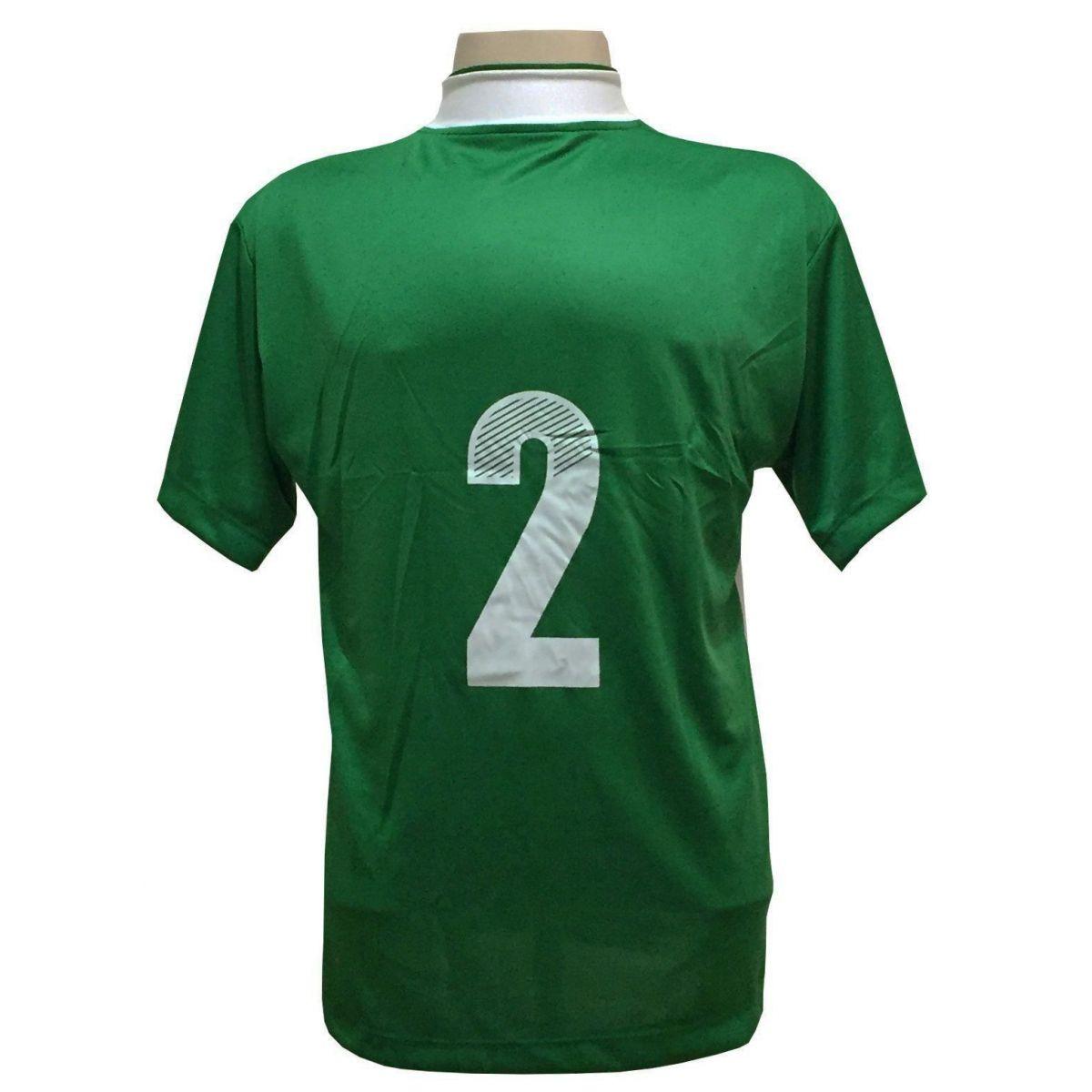 Uniforme Esportivo Completo modelo Suécia 14+1 (14 camisas Verde/Branco + 14 calções Madrid Verde + 14 pares de meiões Verdes + 1 conjunto de goleiro) + Brindes