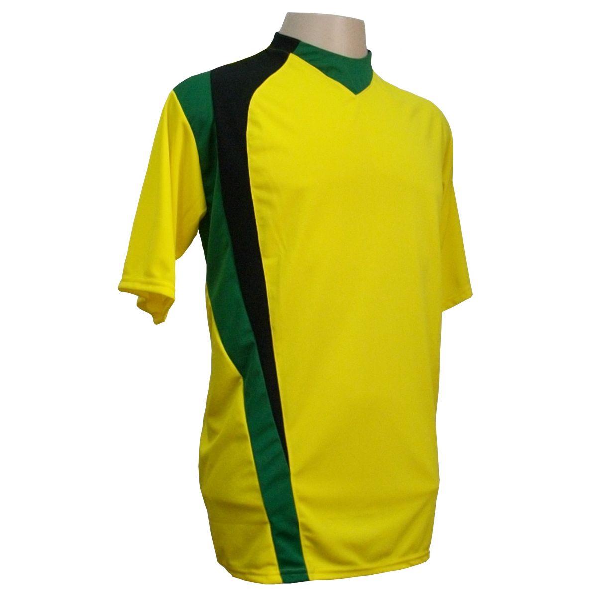 Uniforme Esportivo com 14 camisas modelo PSG Amarelo/Preto/Verde + 14 calções modelo Madrid + 1 Goleiro + Brindes