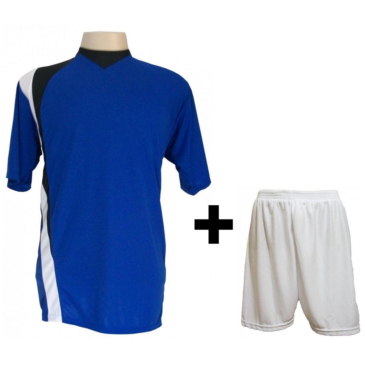 Uniforme Esportivo com 14 camisas modelo PSG Royal/Preto/Branco + 14 calções modelo Madrid + 1 Goleiro