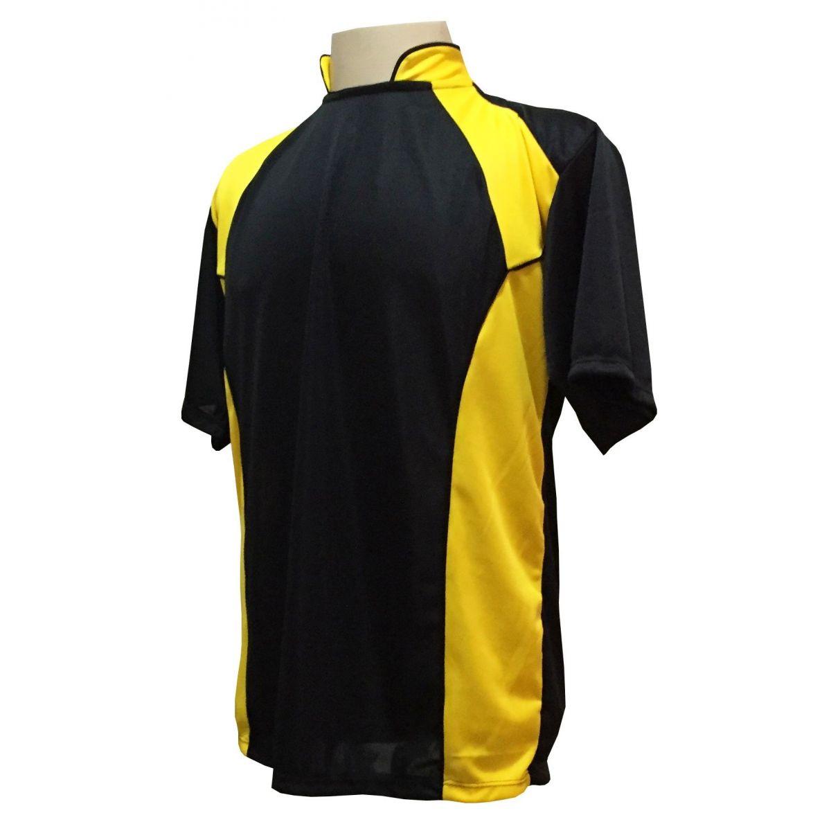 Uniforme Esportivo com 14 camisas modelo Suécia Preto/Amarelo + 14 calções modelo Copa + 1 Goleiro + Brindes