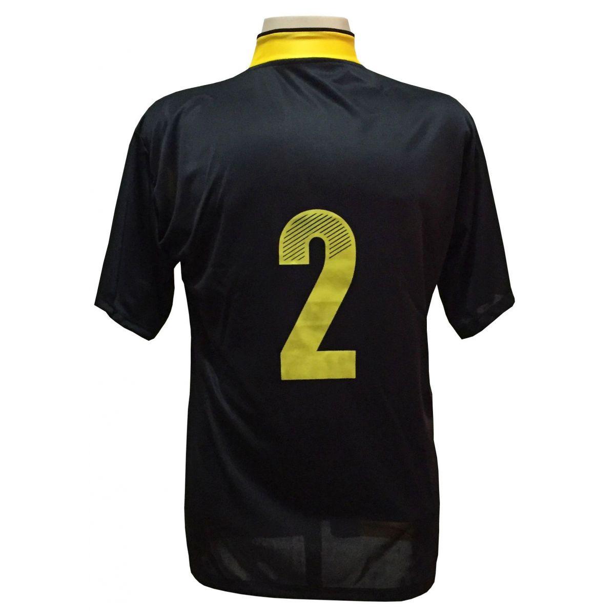 Uniforme Esportivo Completo modelo Suécia 14+1 (14 camisas Preto/Amarelo + 14 calções modelo Copa Preto/Amarelo + 14 pares de meiões Pretos + 1 conjunto de goleiro) + Brindes
