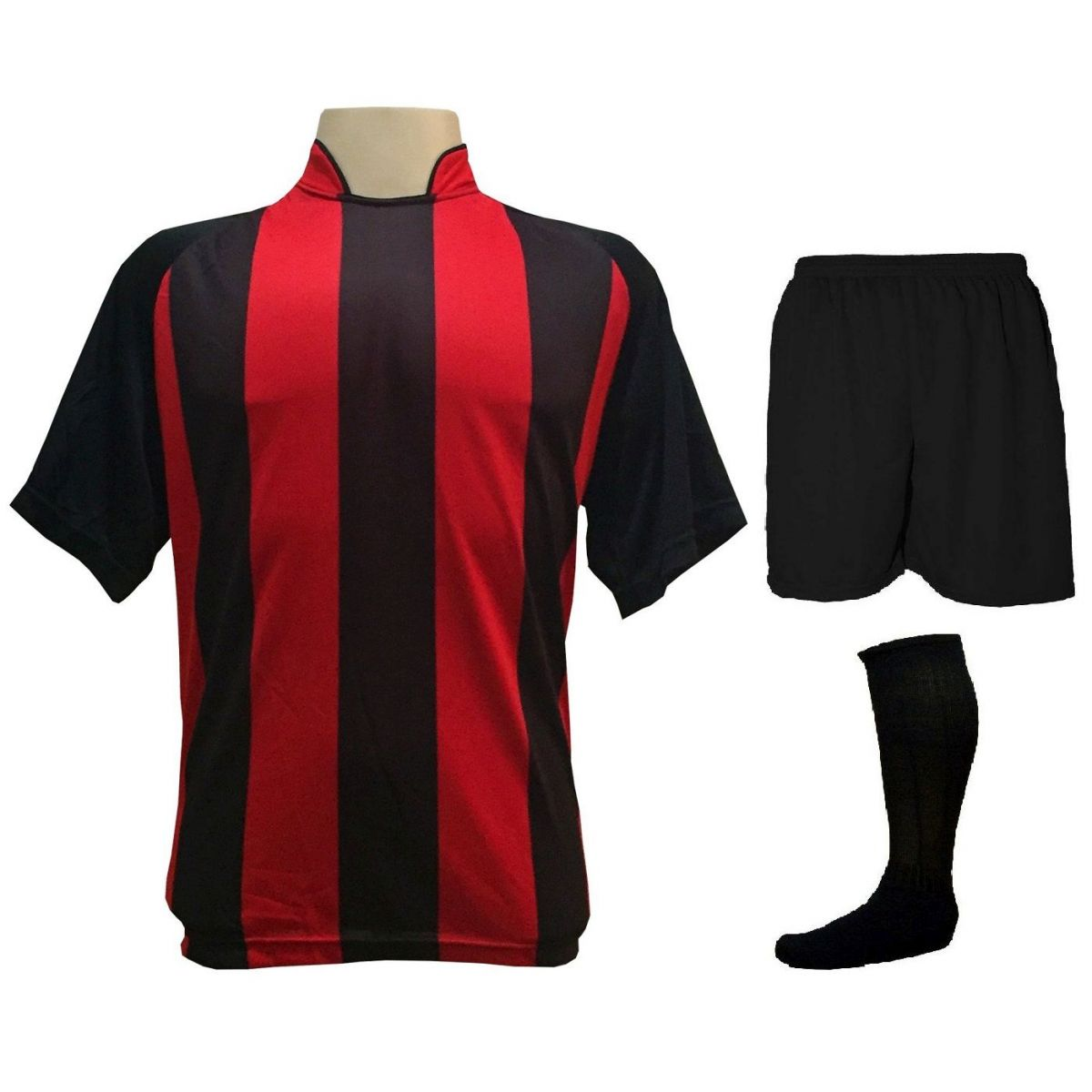 Uniforme Completo modelo Milan 18+2 (18 Camisas Preto/Vermelho + 18 Calções Madrid Preto + 18 Pares de Meiões Pretos + 2 Conjuntos de Goleiro) + Brindes