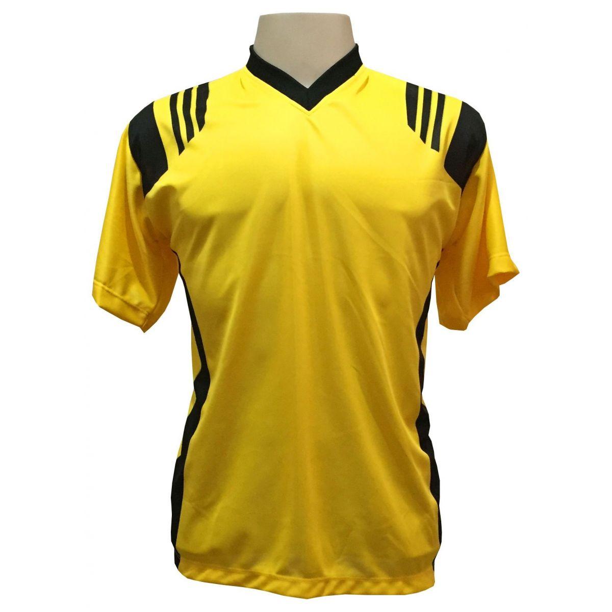 Uniforme Completo modelo Roma 18+2 (18 Camisas Amarelo/Preto + 18 Calções Modelo Copa Preto/Amarelo + 18 Pares de Meiões Pretos + 2 Conjuntos de Goleiro) + Brindes
