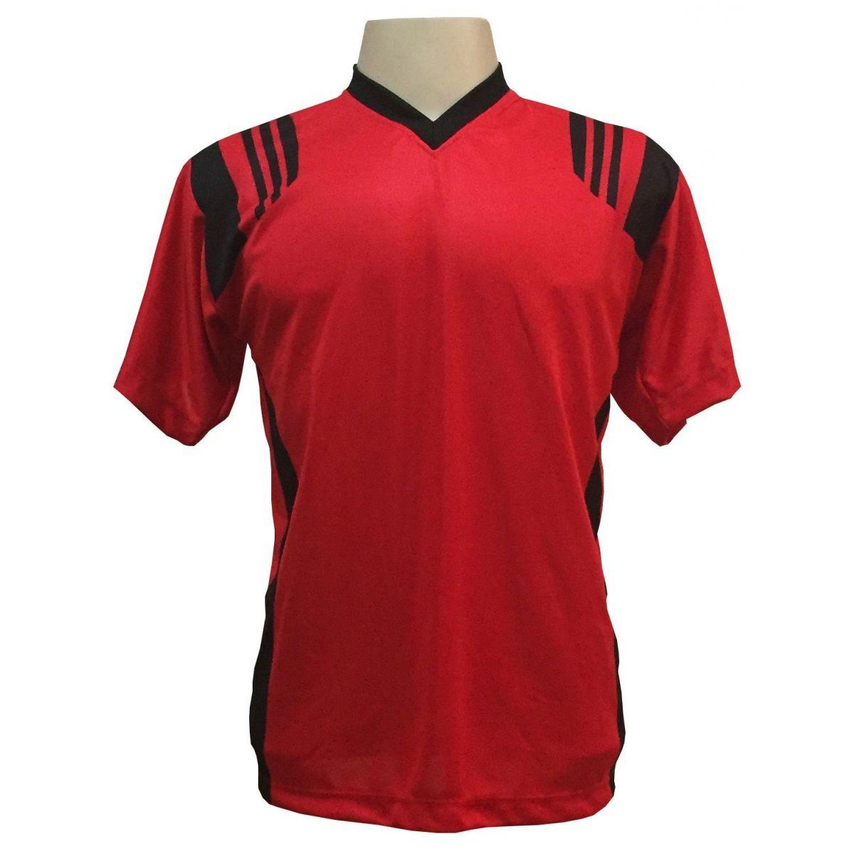 Uniforme Completo modelo Roma 18+2 (18 Camisas Vermelho/Preto + 18 Calções Madrid Preto + 18 Pares de Meiões Pretos + 2 Conjuntos de Goleiro) + Brindes