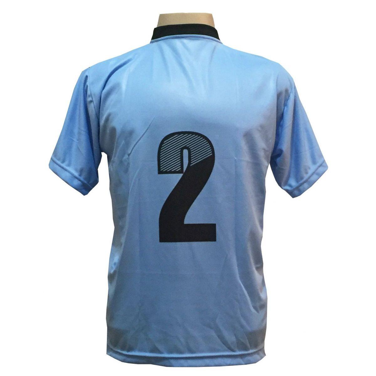 Uniforme Completo modelo Roma 18+2 (18 Camisas Celeste/Preto + 18 Calções Madrid Preto + 18 Pares de Meiões Pretos + 2 Conjuntos de Goleiro) + Brindes