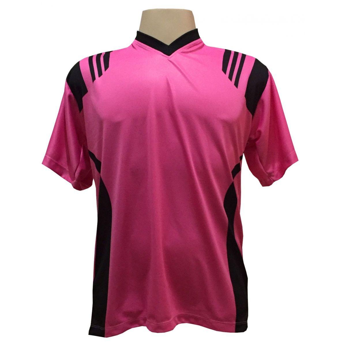 Uniforme Completo modelo Roma 18+2 (18 Camisas Pink/Preto + 18 Calções Madrid Preto + 18 Pares de Meiões Pretos + 2 Conjuntos de Goleiro) + Brindes