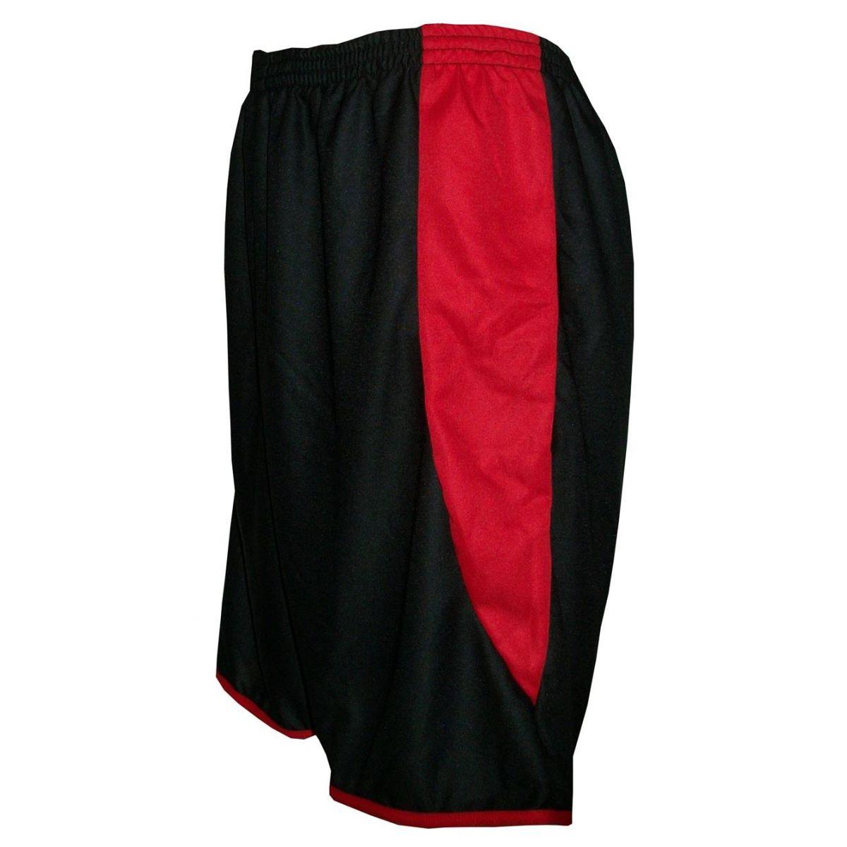 Fardamento Completo modelo Roma 18+2 (18 Camisas Vermelho/Preto + 18 Calções Copa Preto/Vermelho + 18 Pares de Meiões Pretos + 2 Conjuntos de Goleiro) + Brindes