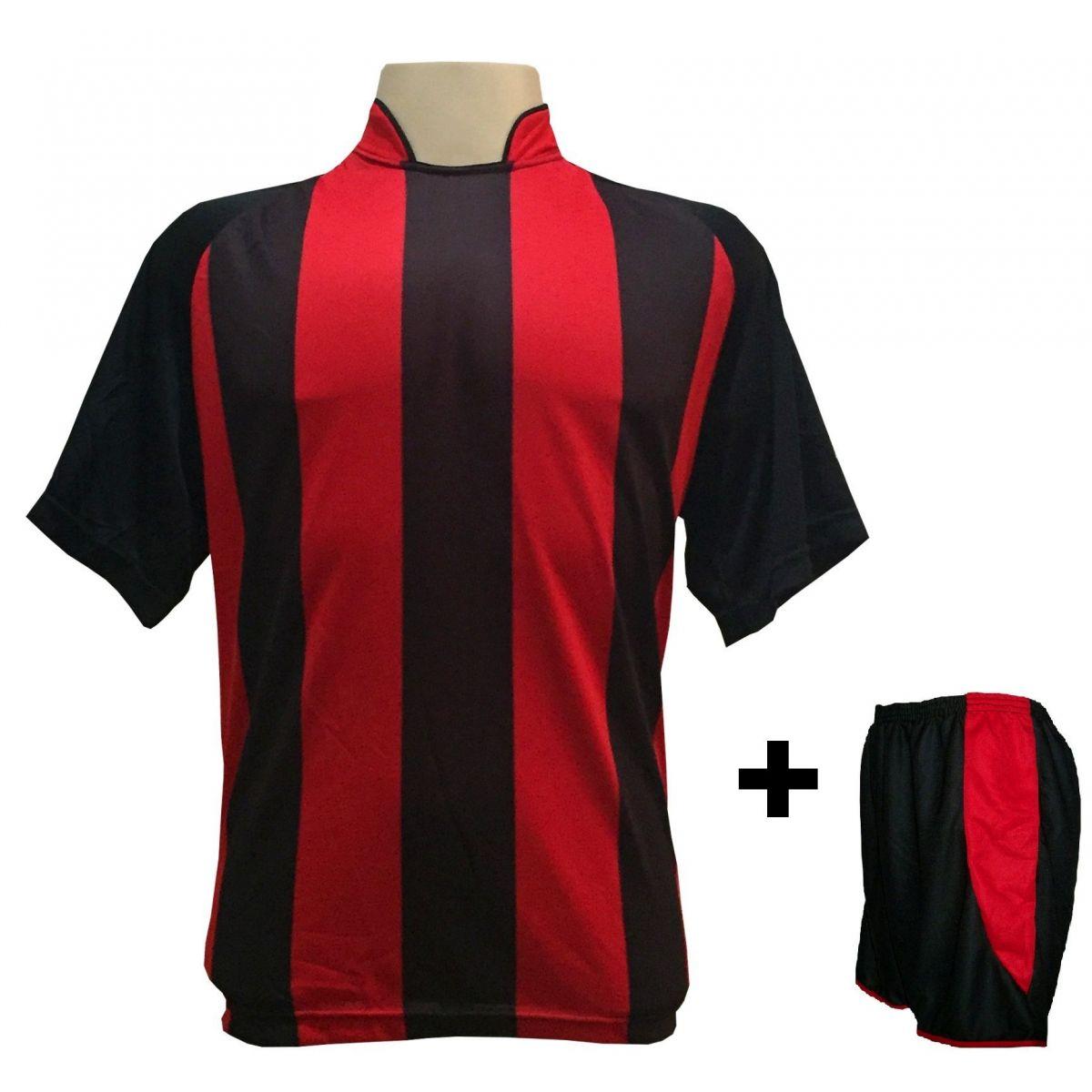 Uniforme Esportivo com 18 camisas modelo Milan Preto/Vermelho + 18 calções modelo Copa + 1 Goleiro + Brindes