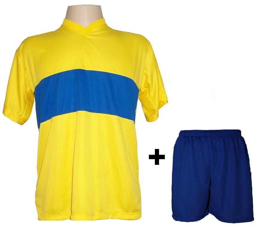 Uniforme Esportivo com 14 camisas modelo Boca Juniors Amarelo/Royal + 14 calções modelo Madrid + 1 Goleiro + Brindes
