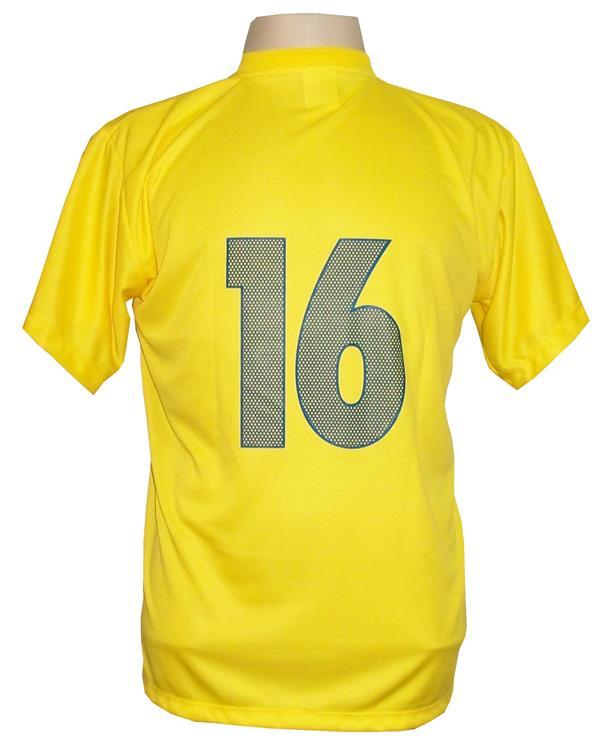 Uniforme Esportivo Completo modelo Boca Juniors 14+1 (14 camisas Amarelo/Royal + 14 calções Madrid Royal + 14 pares de meiões Amarelos + 1 conjunto de goleiro) + Brindes