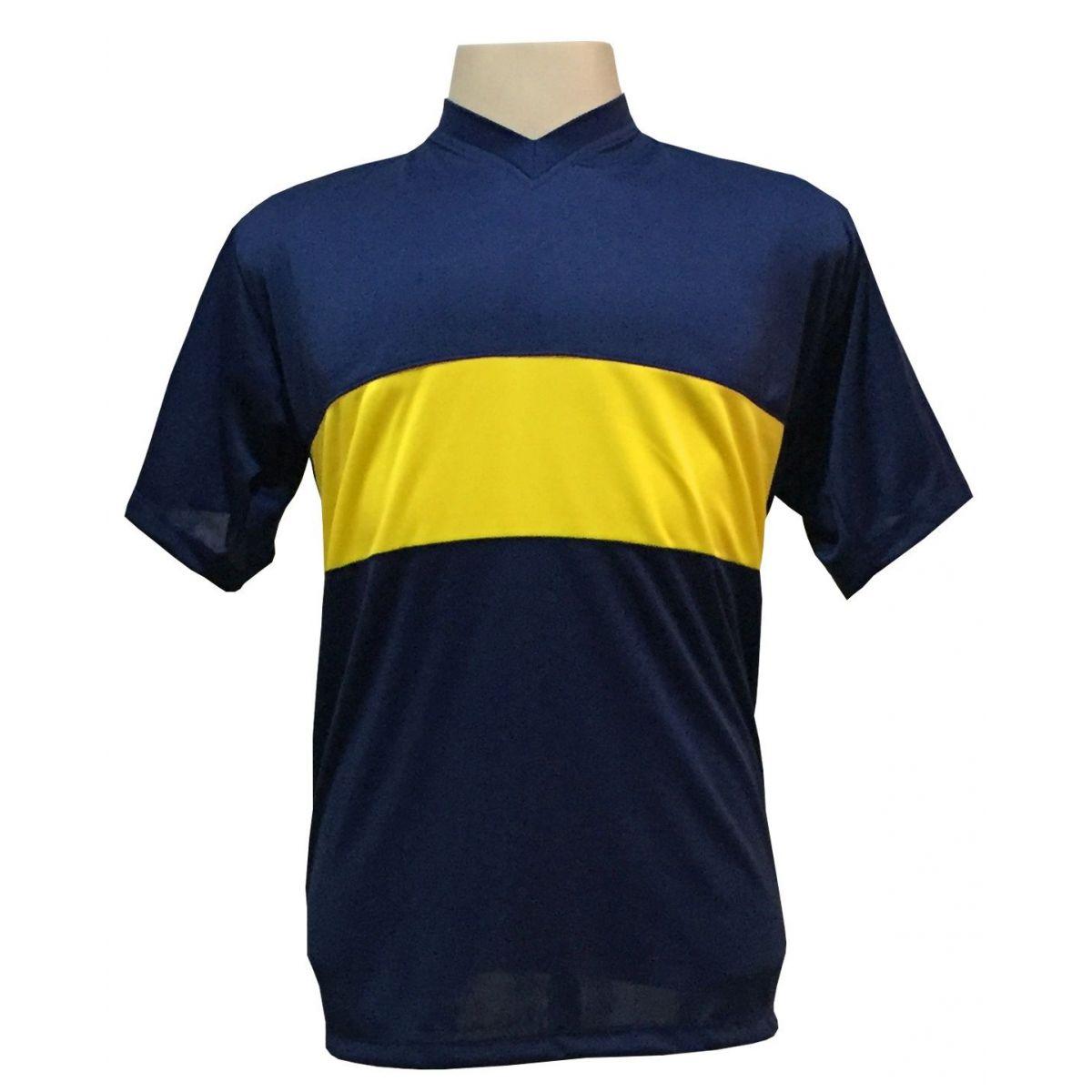 Jogo de Camisa com 14 unidades modelo Boca Juniors Marinho/Amarelo + 1 Goleiro + Brindes