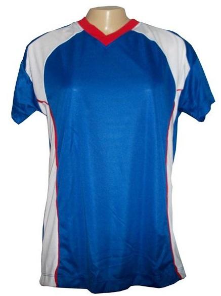 Jogo de Camisa Feminino Modelo Porto Tamanho G - Royal/Vermelho/Branco com 10 unidades + Brindes