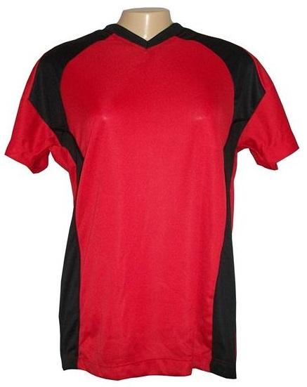 Jogo de Camisa Feminino Modelo Porto Tamanho G - Vermelho/Preto com 10 unidades - Frete Grátis Brasil + Brindes
