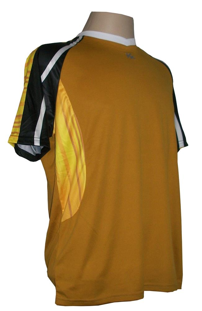 Jogo de camisa Profissional com 14 unidades modelo Folk Dourado/Preto/Branco/Amarelo + Brindes