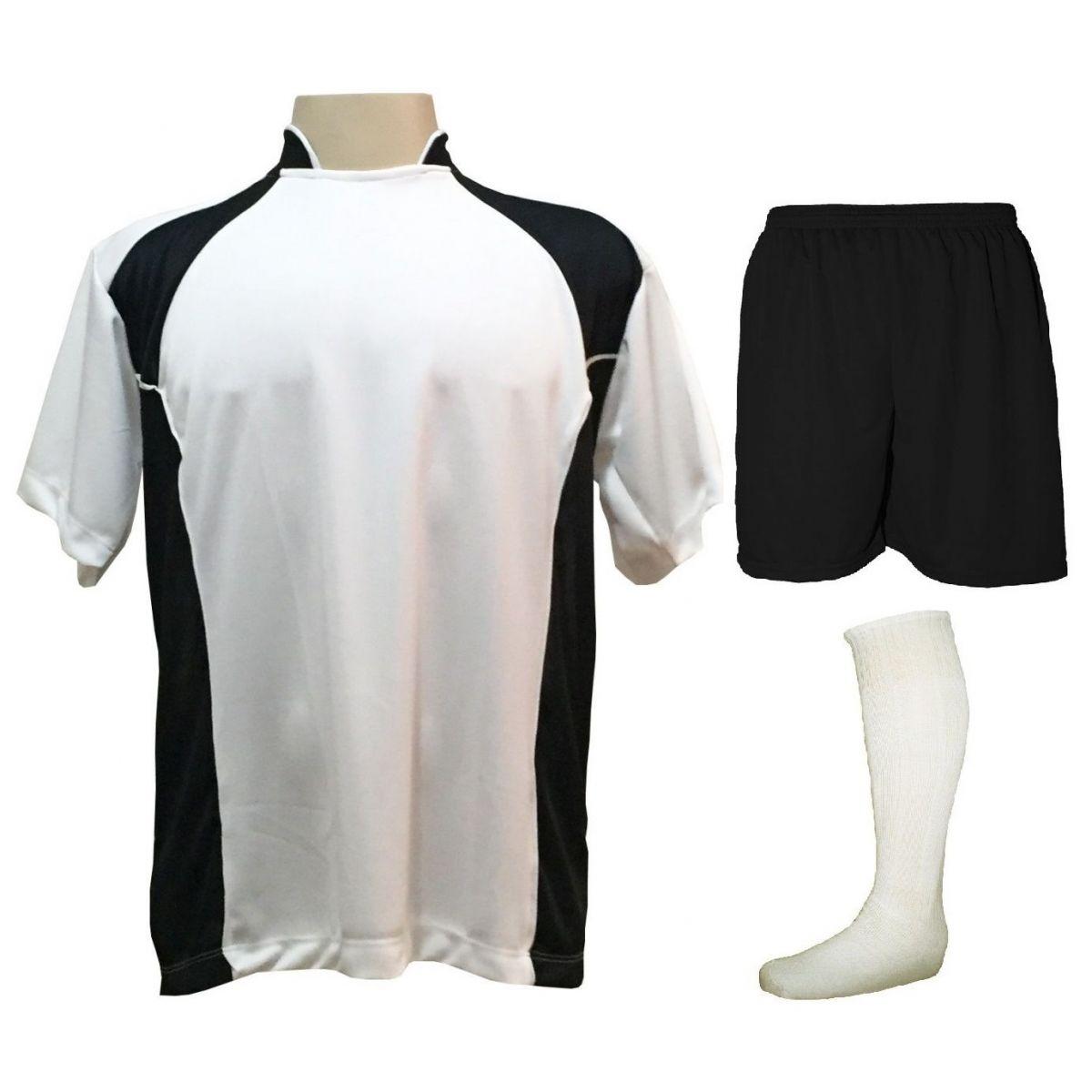 e9cee62e92ff Uniforme Esportivo Completo modelo Suécia 14+1 (14 camisas Branco/Preto +  14 ...