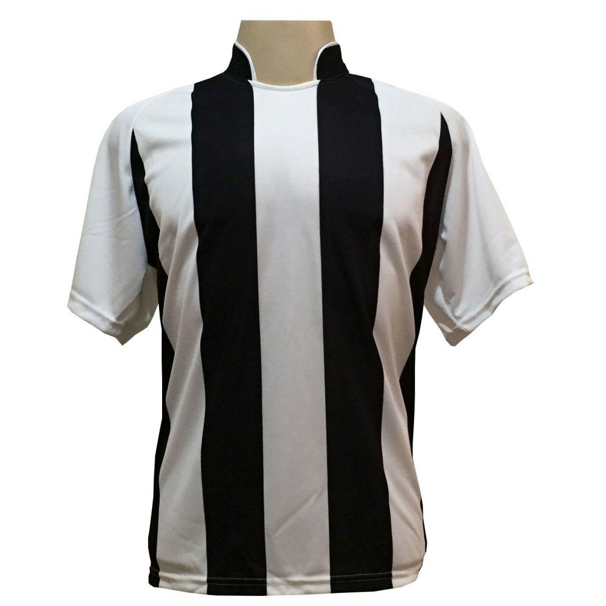 Uniforme Completo modelo Milan 18+2 (18 Camisas Branco/Preto + 18 Calções Copa Preto/Branco + 18 Pares de Meiões Pretos + 2 Conjuntos de Goleiro) + Brindes