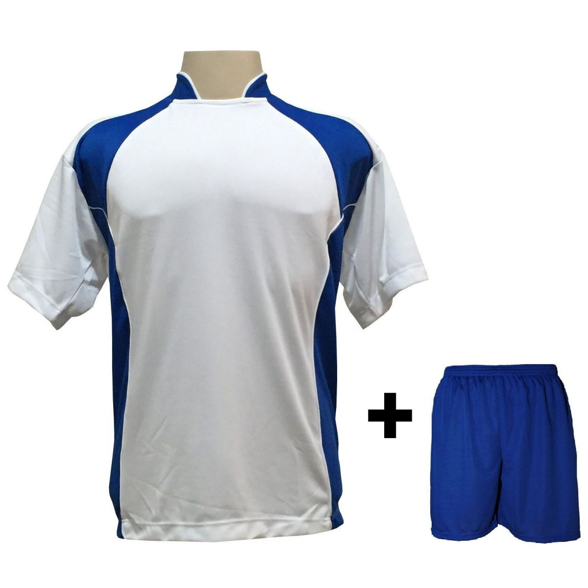 Uniforme Esportivo com 14 camisas modelo Suécia Branco/Royal + 14 calções modelo Madrid Royal + Brindes