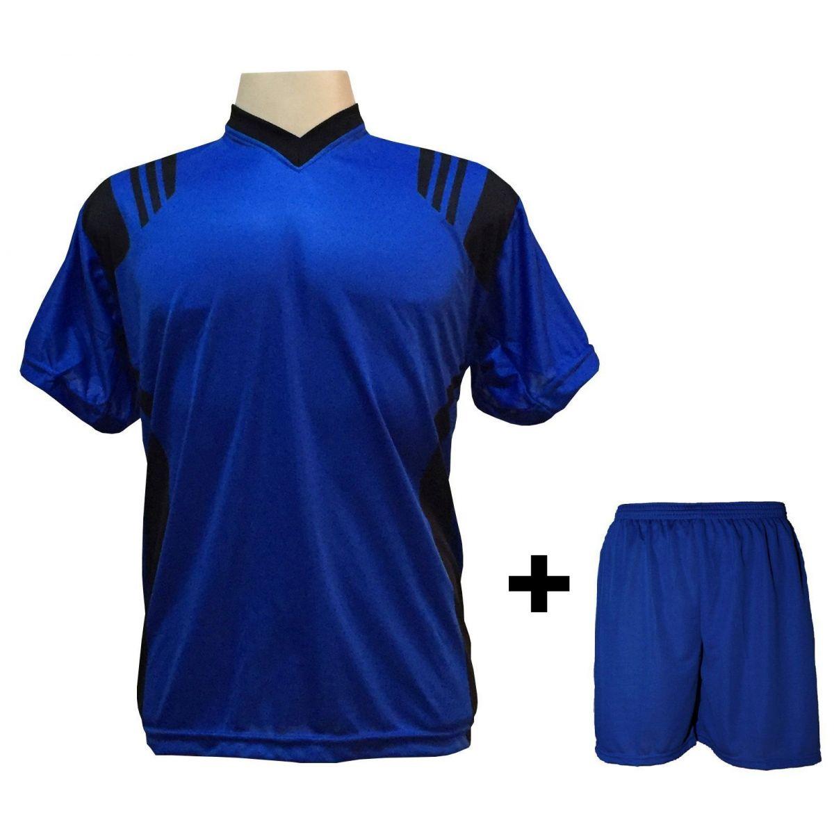 f9c86fff6d68a Uniforme Esportivo com 18 camisas modelo Roma Royal Preto + 18 calções  modelo Madrid Royal ...