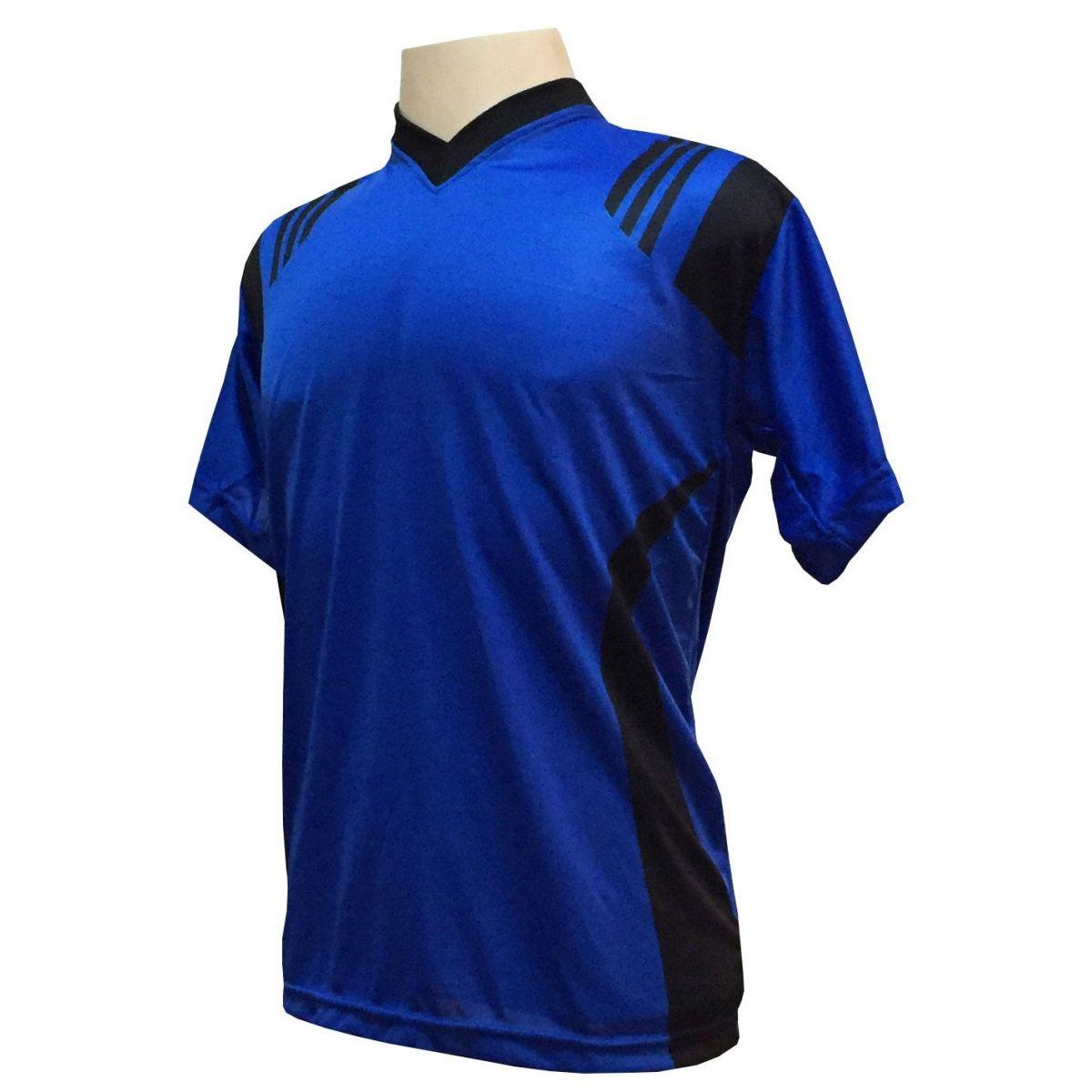Fardamento Completo Modelo Roma 18+1 (18 Camisas Royal/Preto + 18 Calções Madrid Royal + 18 Pares de Meiões Royal + 1 Conjunto de Goleiro) + Brindes