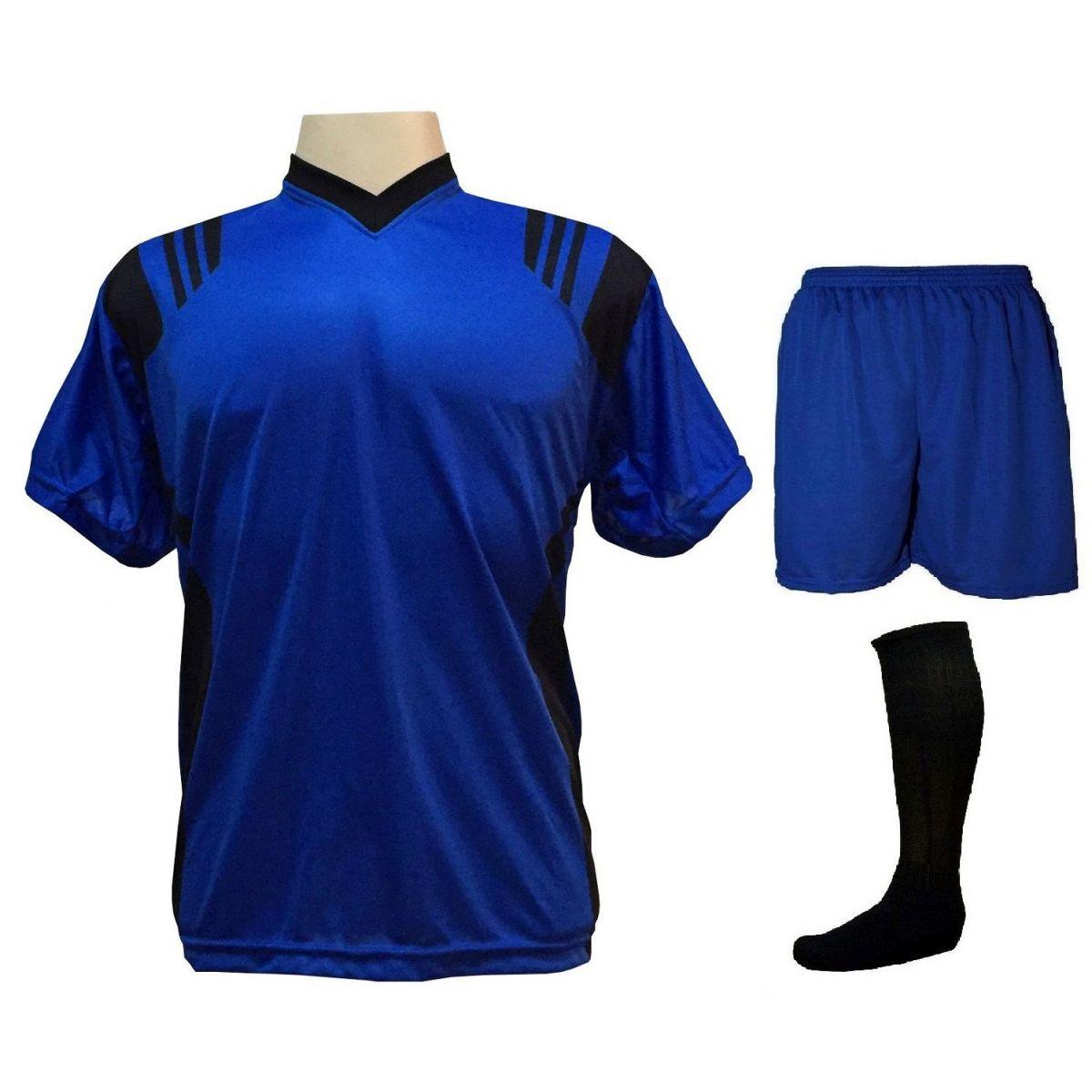 Uniforme Completo Modelo Roma 18+1 (18 Camisas Royal/Preto + 18 Calções Madrid Royal + 18 Pares de Meiões Pretos + 1 Conjunto de Goleiro) + Brindes