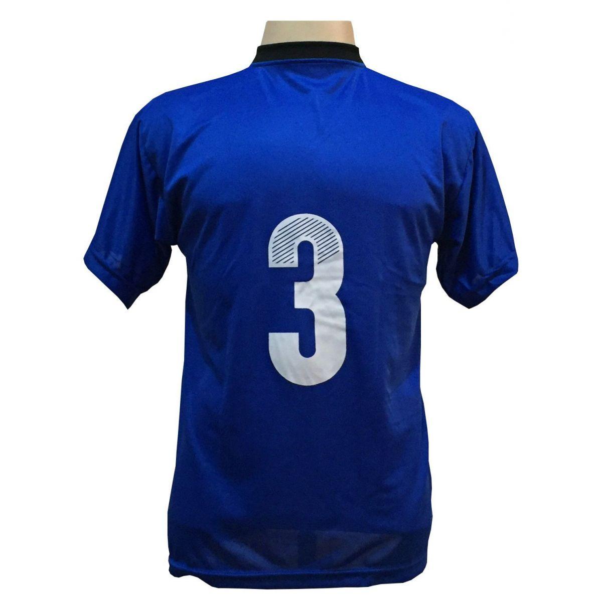 Uniforme Completo modelo Roma 18+2 (18 Camisas Royal/Preto + 18 Calções Madrid Royal + 18 Pares de Meiões Royal + 2 Conjuntos de Goleiro) + Brindes