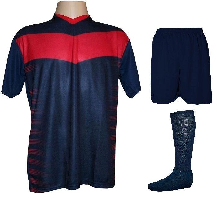 Uniforme Completo modelo Dubai Marinho/Vermelho 12+1 (12 camisas + 12 calções + 13 pares de meiões + 1 conjunto de goleiro) - Frete Grátis Brasil + Brindes