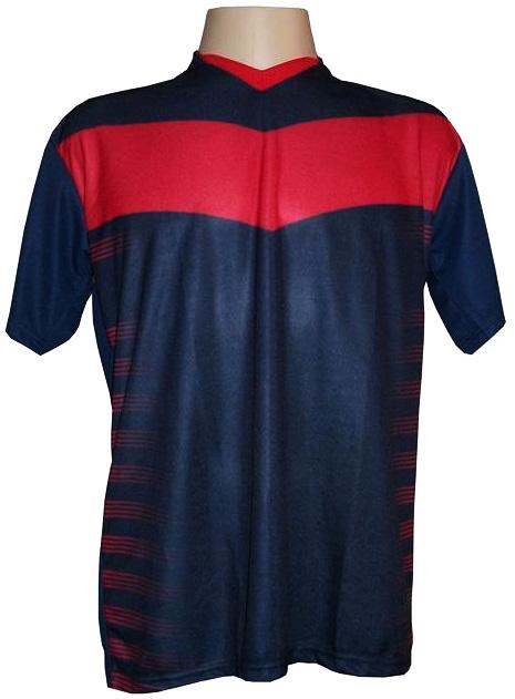 Uniforme Esportivo com 12 camisas modelo Dubai Marinho/Vermelho + 12 calções modelo Madrid Marinho + Brindes