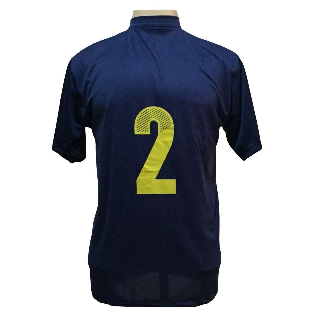 Uniforme Esportivo com 14 camisas modelo Boca Juniors Marinho/Amarelo + 14 calções modelo Madrid Marinho + Brindes