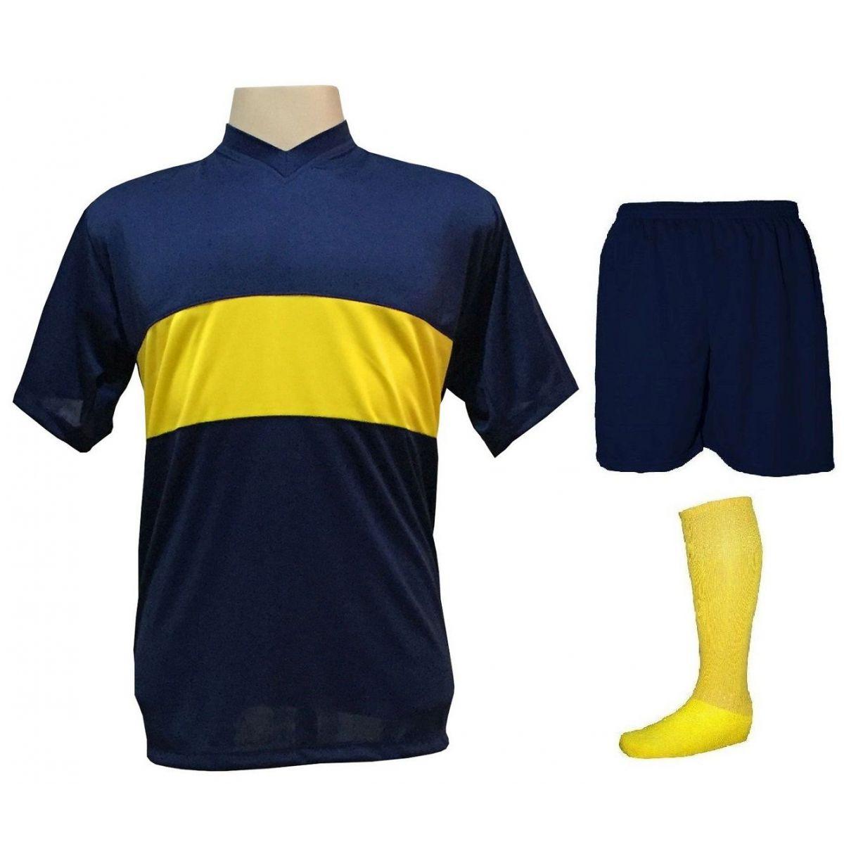 Uniforme Esportivo Completo modelo Boca Juniors 14+1 (14 camisas Marinho/Amarelo + 14 calções Madrid Marinho + 14 pares de meiões Amarelos + 1 conjunto de goleiro) + Brindes