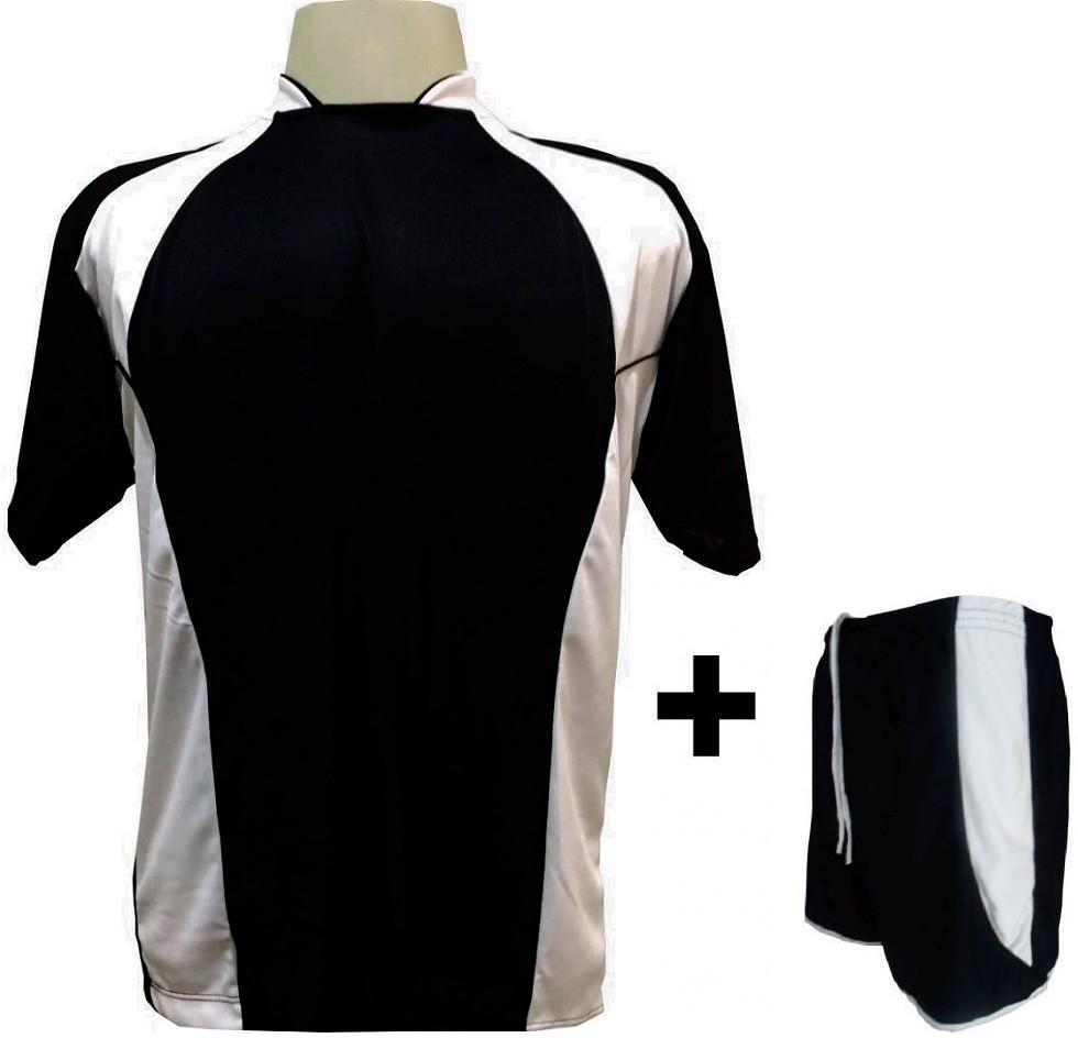Uniforme Esportivo com 14 camisas modelo Suécia Preto/Branco + 14 calções modelo Copa Preto/Branco + Brindes