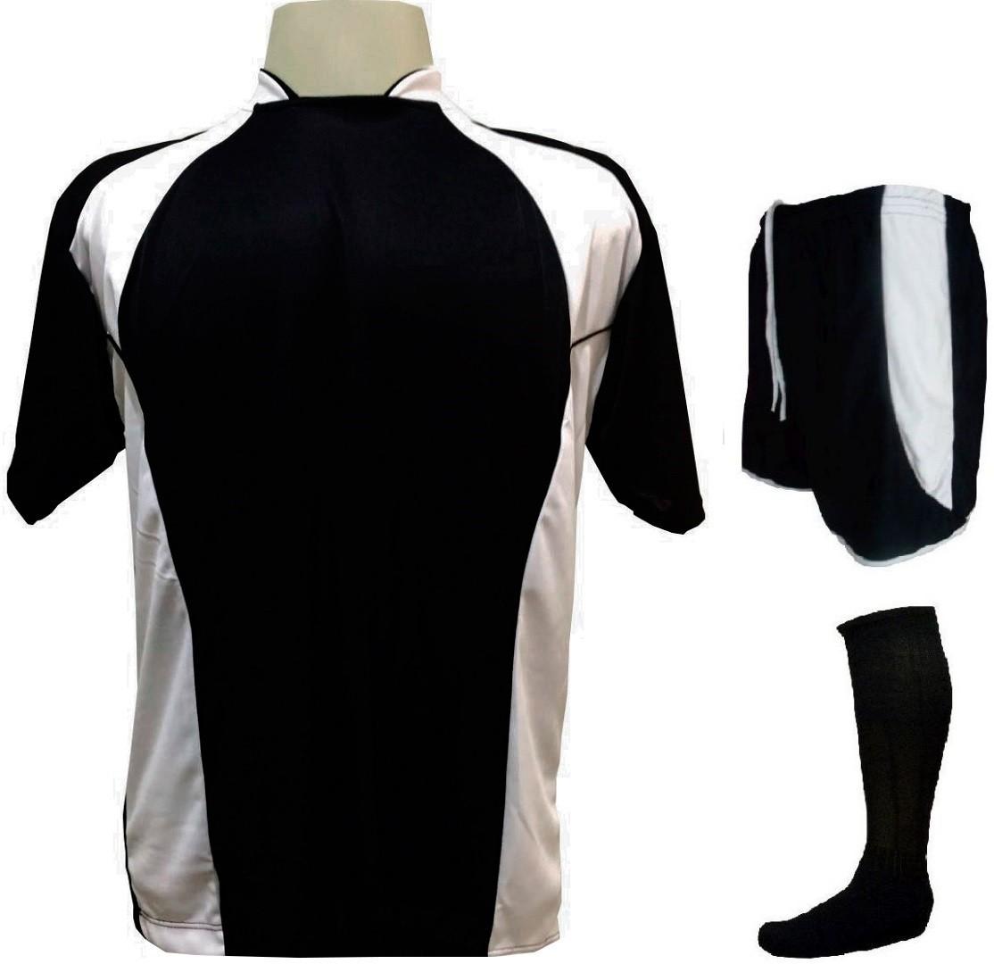 Uniforme Esportivo Completo modelo Suécia 14+1 (14 camisas Preto/Branco + 14 calções modelo Copa Preto/Branco + 14 pares de meiões Pretos + 1 conjunto de goleiro) + Brindes
