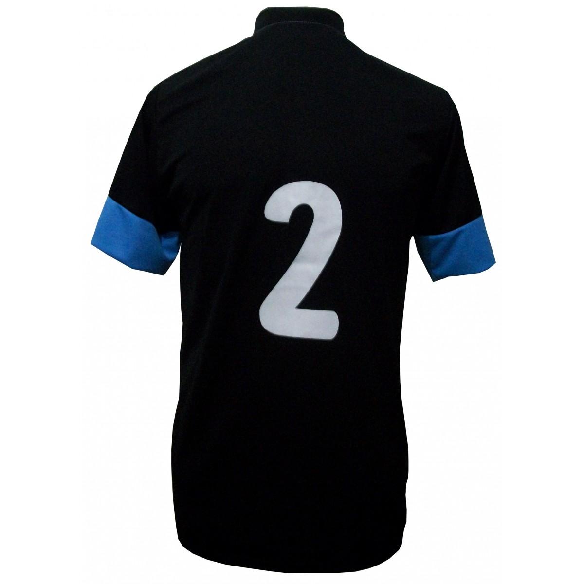 Uniforme Esportivo com 14 camisas modelo Sporting Preto/Branco/Celeste + 14 calções modelo Copa Preto/Branco + Brindes