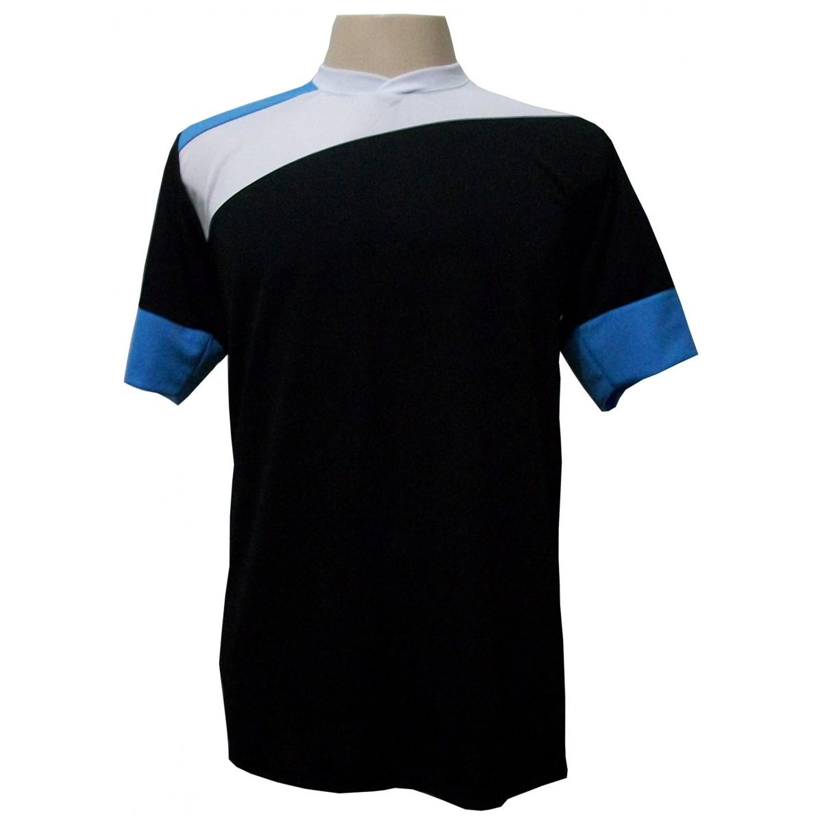 Uniforme Esportivo com 14 camisas modelo Sporting Preto/Branco/Celeste + 14 calções modelo Copa + 1 Goleiro + Brindes