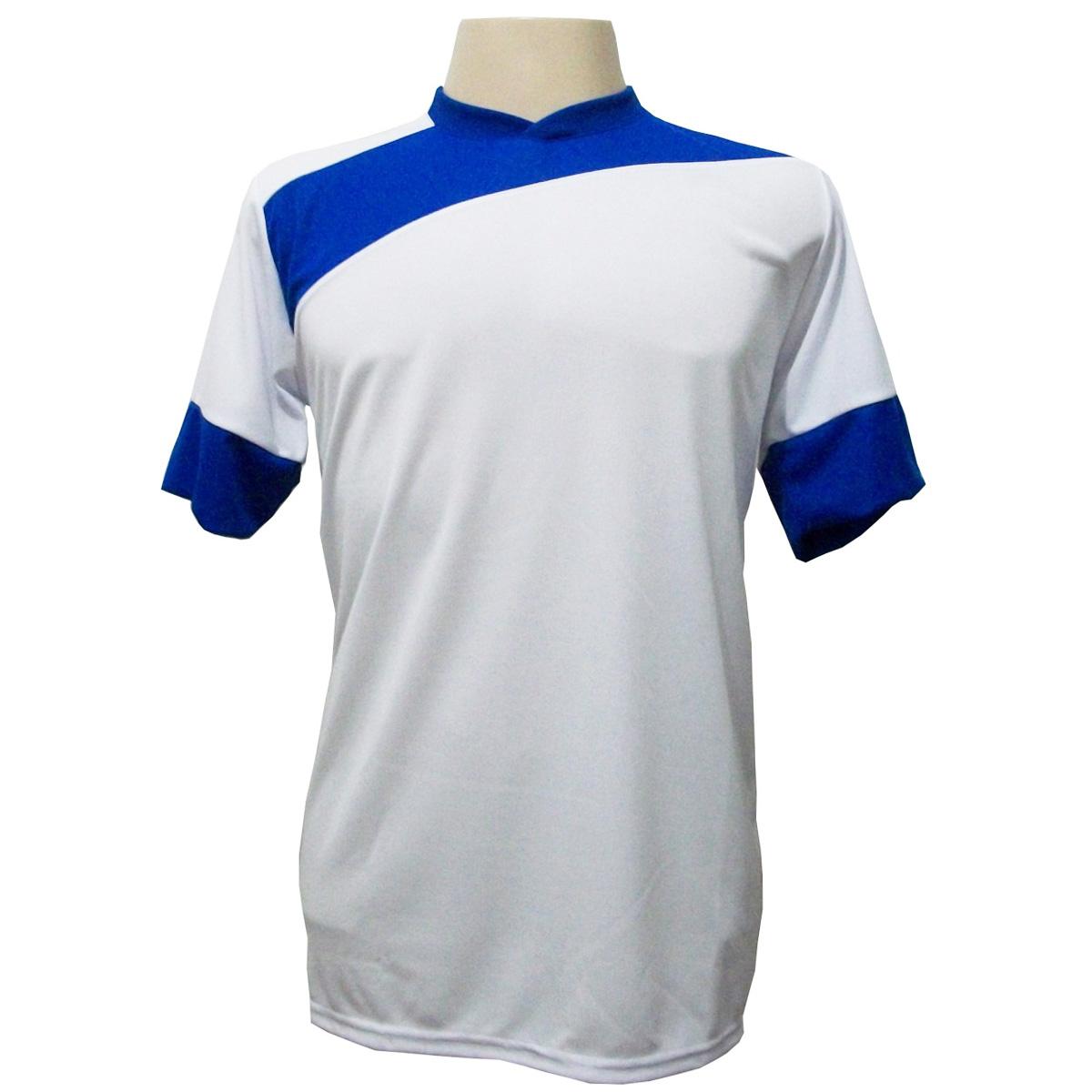 Uniforme Esportivo com 14 camisas modelo Sporting Branco/Royal + 14 calções modelo Copa Royal/Branco + Brindes