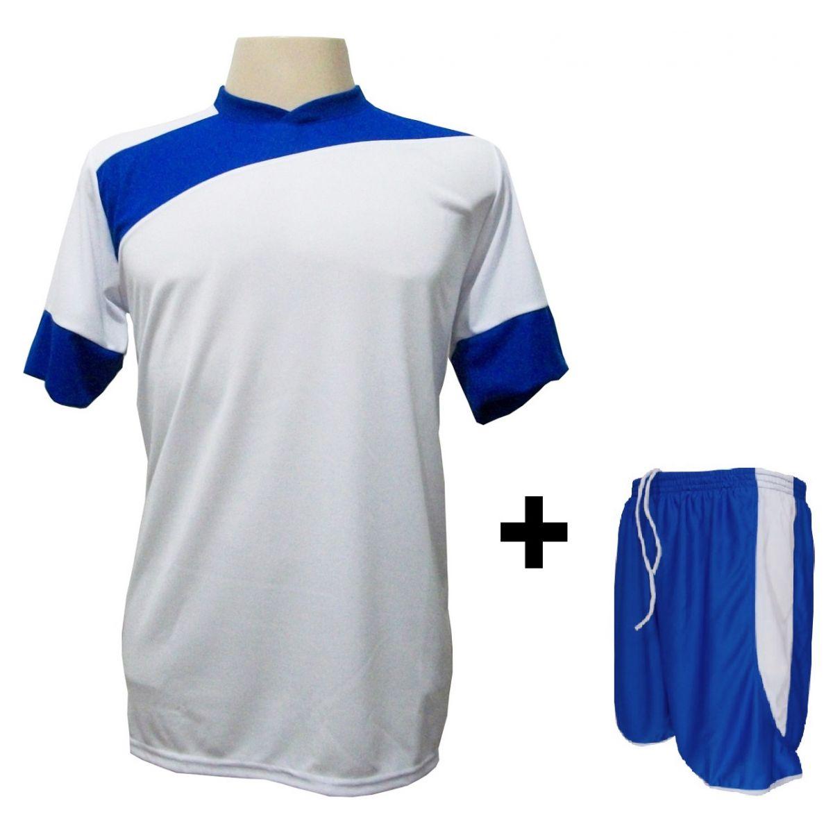 Uniforme Esportivo com 14 camisas modelo Sporting Branco/Royal + 14 calções modelo Copa + 1 Goleiro + Brindes
