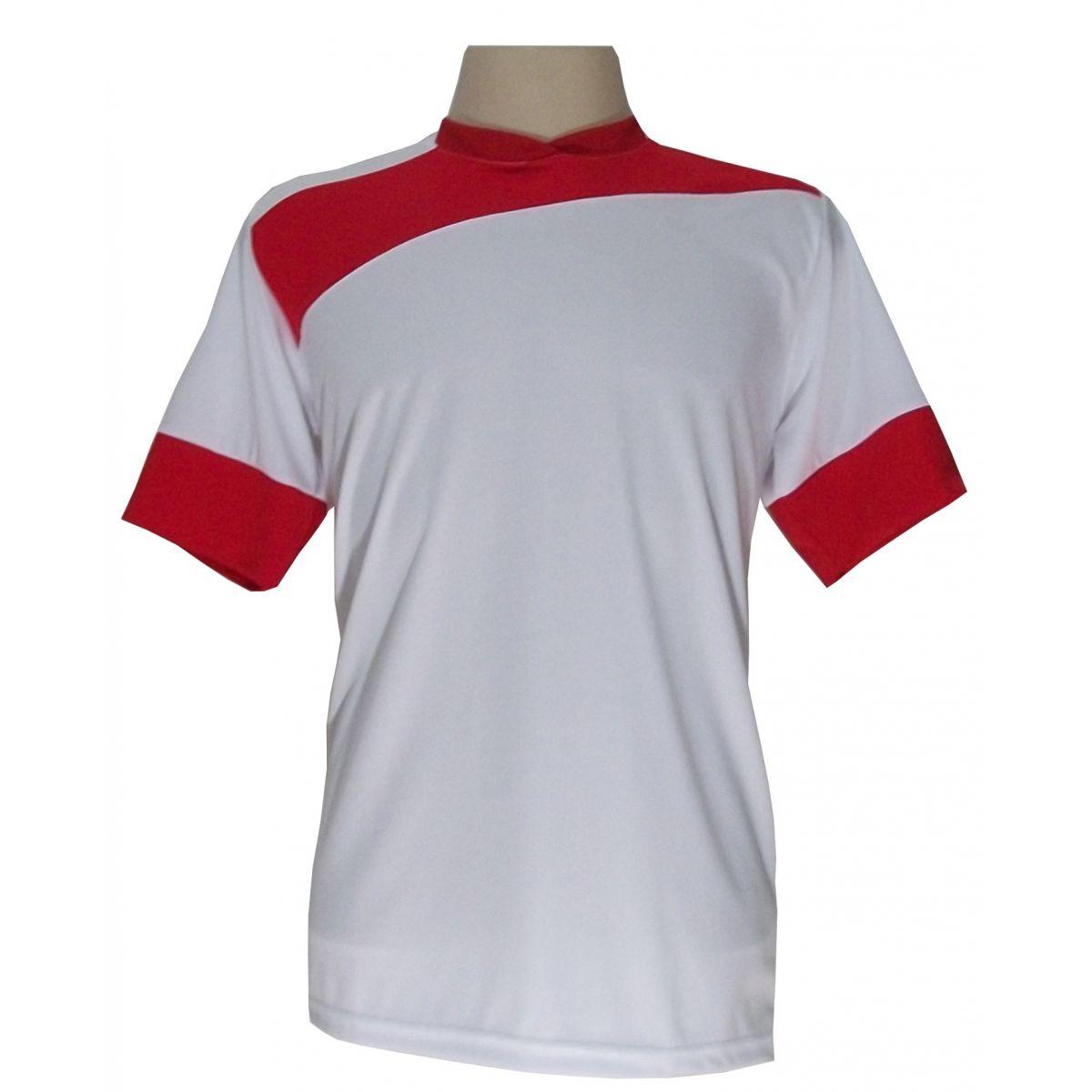 Uniforme Esportivo com 14 camisas modelo Sporting Branco/Vermelho + 14 calções modelo Copa Vermelho/Branco + Brindes