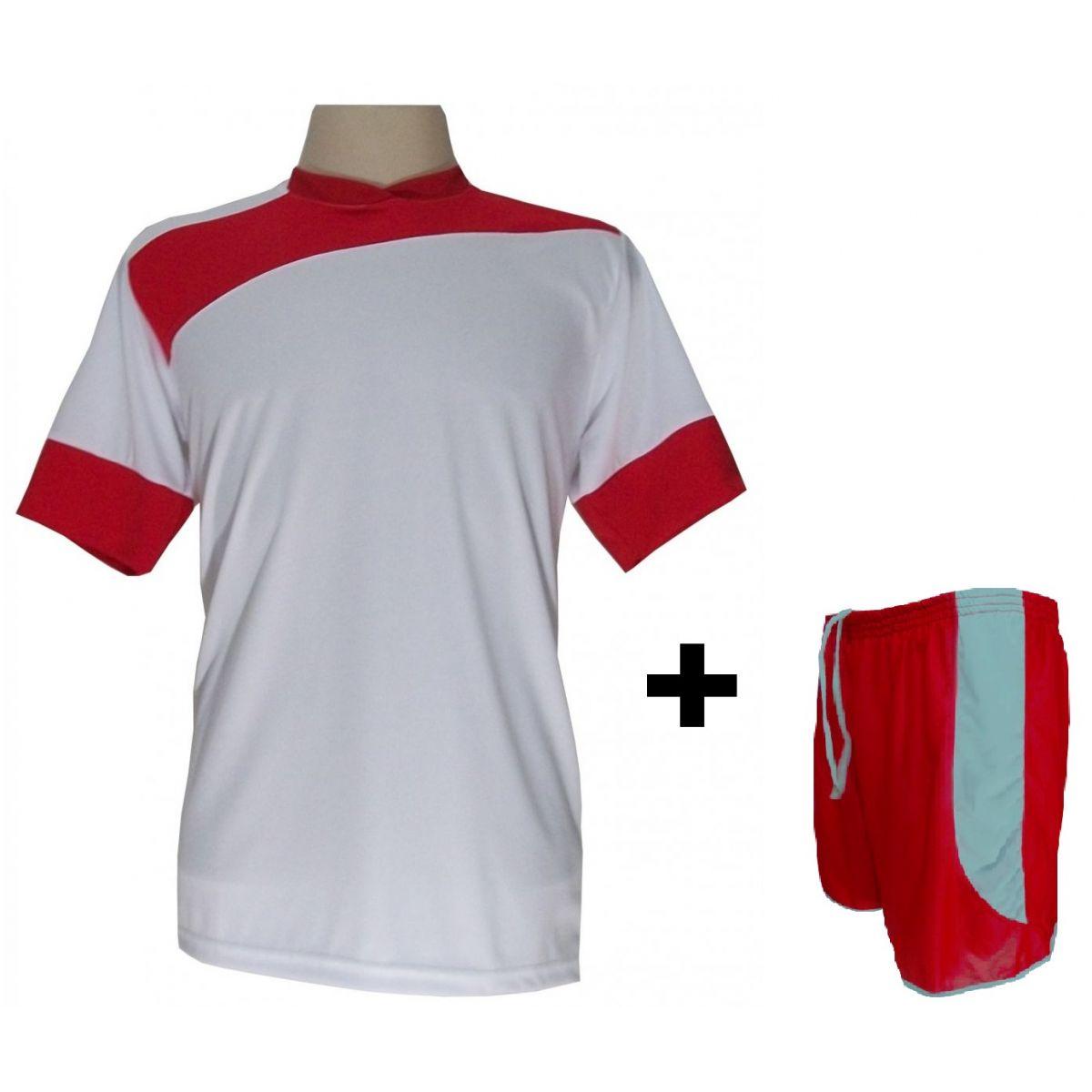 Uniforme Esportivo com 14 camisas modelo Sporting Branco/Vermelho + 14 calções modelo Copa + 1 Goleiro + Brindes