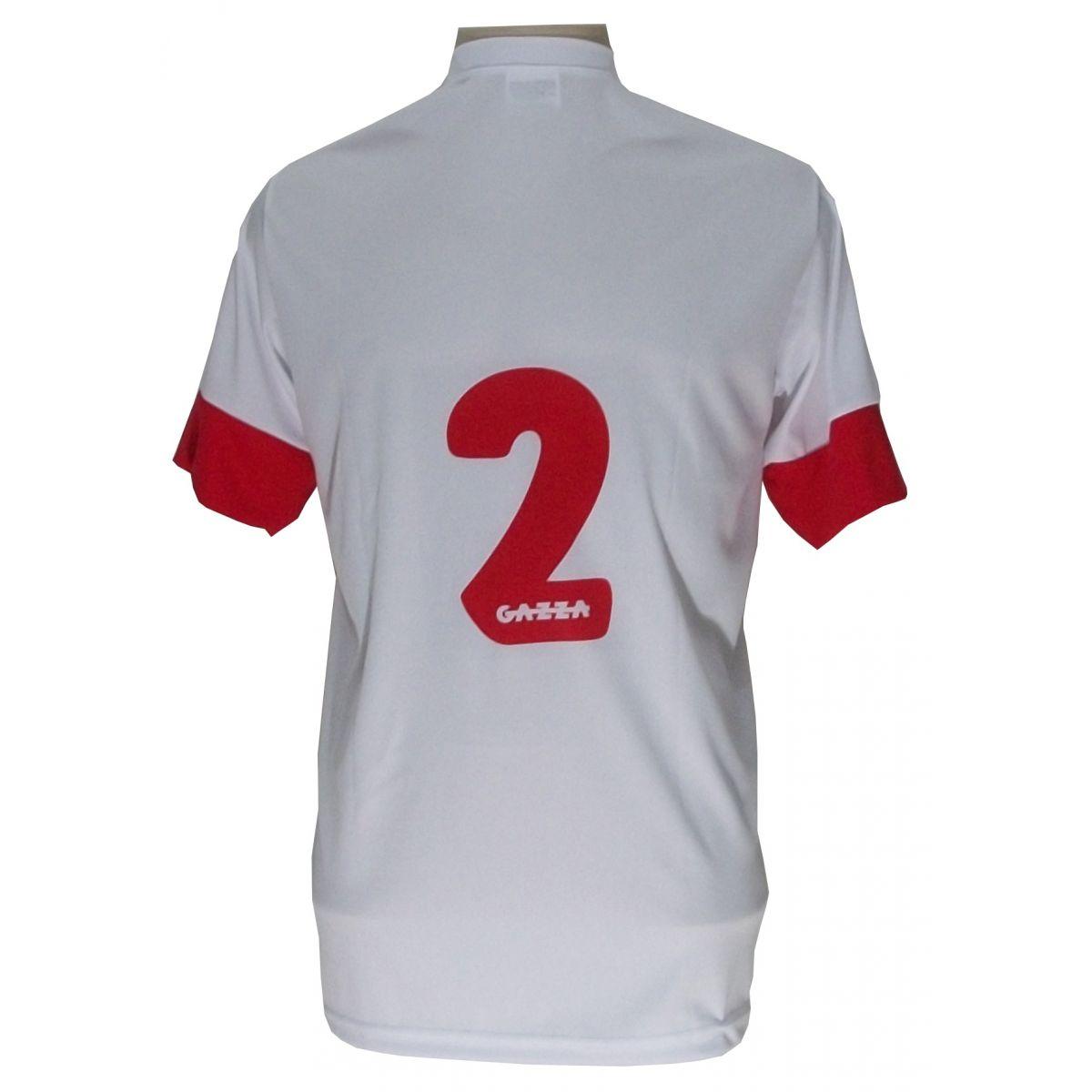 Uniforme Esportivo Completo modelo Sporting 14+1 (14 camisas Branco/Vermelho + 14 calções modelo Copa Vermelho/Branco + 14 pares de meiões Brancos + 1 conjunto de goleiro) + Brindes