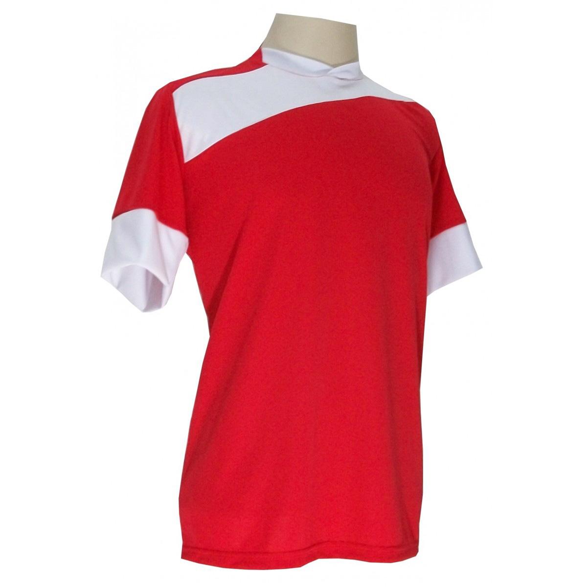 Uniforme Esportivo Completo modelo Sporting 14+1 (14 camisas Vermelho/Branco + 14 calções Madrid Vermelho + 14 pares de meiões Branco + 1 conjunto de goleiro) + Brindes