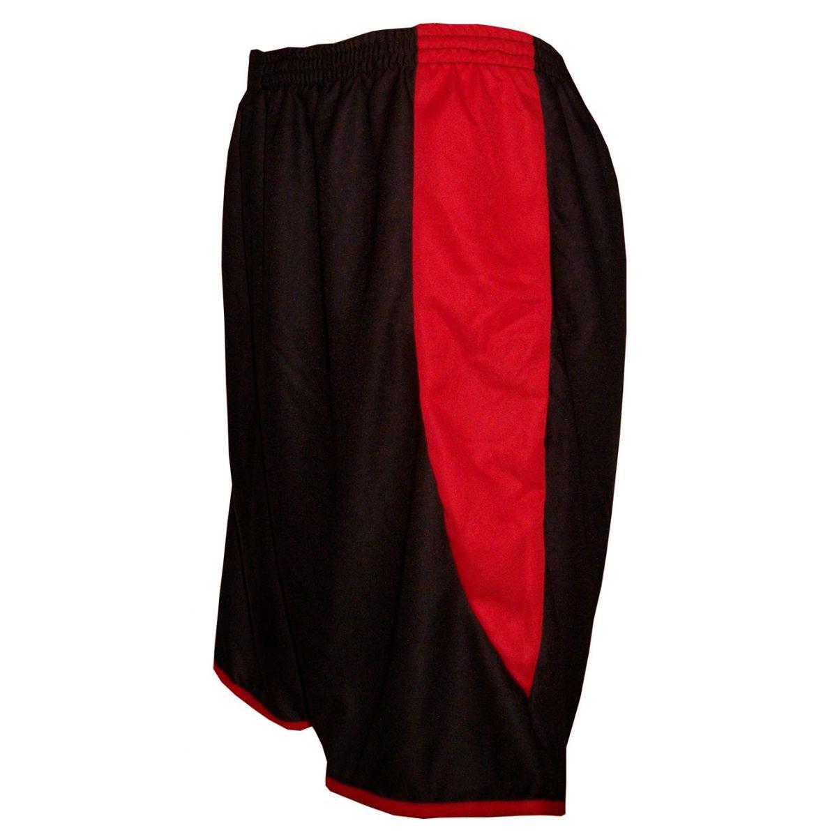 Uniforme Esportivo com 14 camisas modelo Sporting Preto/Branco/Vermelho + 14 calções modelo Copa Preto/Vermelho + Brindes