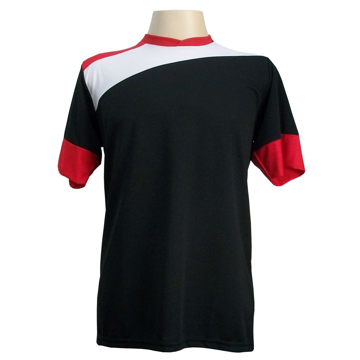 Uniforme Esportivo com 14 camisas modelo Sporting Preto/Branco/Vermelho + 14 calções modelo Copa Vermelho/Branco + Brindes