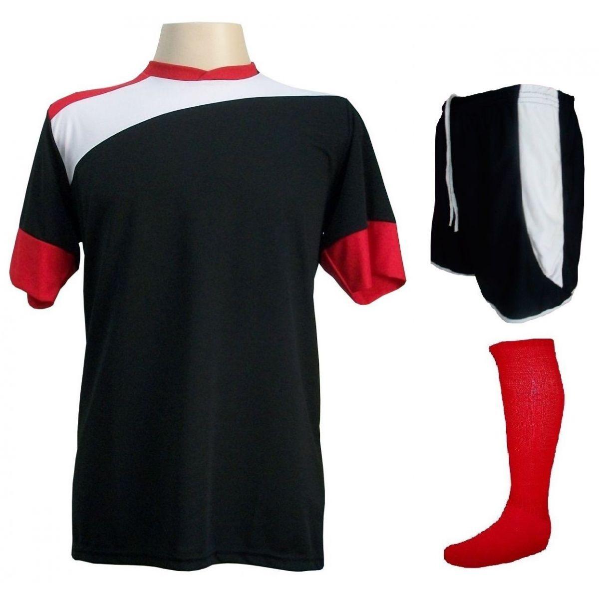 Uniforme Esportivo Completo modelo Sporting 14+1 (14 camisas Preto/Branco/Vermelho + 14 calções modelo Copa Preto/Branco + 14 pares de meiões Vermelhos + 1 conjunto de goleiro) + Brindes