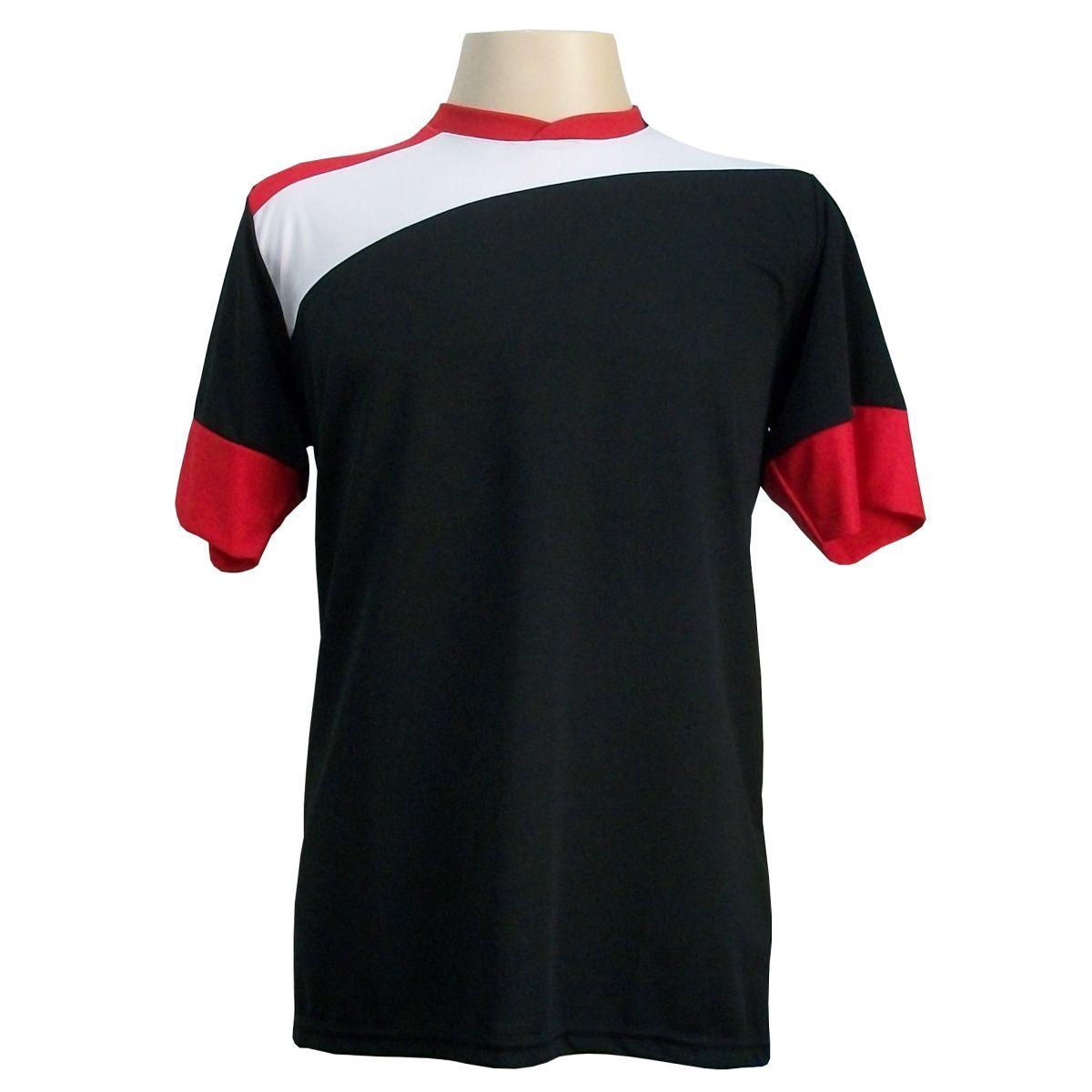 Uniforme Esportivo Completo modelo Sporting 14+1 (14 camisas Preto/Branco/Vermelho + 14 calções modelo Copa Vermelho/Branco + 14 pares de meiões Vermelhos + 1 conjunto de goleiro) + Brindes